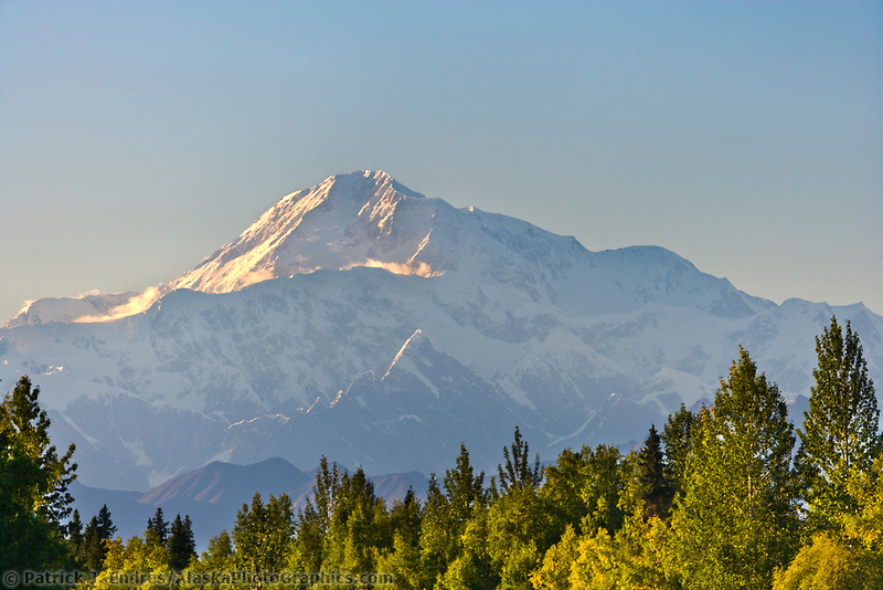 Southside view of Mount Denali, North America's tallest peak at approximately 20,237 ft. (6,168m). Alaska.