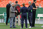 10 May 2008: Canada head coach Even Pellerud (NOR) (l) talks with United States head coach Pia Sundhage (SWE) (r) and fitness coach Helena Andersson (SWE) (center). The United States Women's National Team defeated the Canada Women's National Team 6-0 at RFK Stadium in Washington, DC in a women's international friendly soccer match.