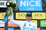 Marc Soler (ESP) Movistar Team retains the young riders White Jersey at the end of Stage 7 of the 2018 Paris-Nice running 175km from Nice to Valdeblore la Colmiane, France. 10th March 2018.<br /> Picture: ASO/Alex Broadway | Cyclefile<br /> <br /> <br /> All photos usage must carry mandatory copyright credit (&copy; Cyclefile | ASO/Alex Broadway)