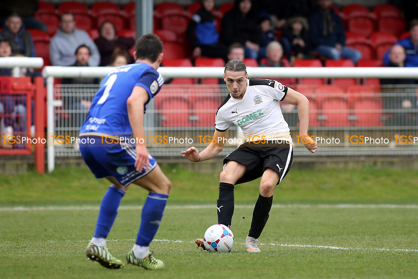 Liam Bellamy of Dover passes the ball to a teammate  during Dover Athletic vs FC Halifax Town, Vanarama National League Football at the Crabble Athletic Ground on 2nd April 2016