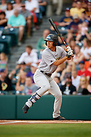 Trenton Thunder first baseman Gosuke Katoh (19) at bat during a game against the Richmond Flying Squirrels on May 11, 2018 at The Diamond in Richmond, Virginia.  Richmond defeated Trenton 6-1.  (Mike Janes/Four Seam Images)
