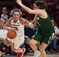 NWA Democrat-Gazette/J.T. WAMPLER Arkansas' Grayce Spangler drives to the basket while University of Alabama at Birmingham's Margaret Whitley defends Sunday March 24, 2019 at Bud Walton Arena in Fayetteville during the second round of the Women's National Invitational Tournament. Arkansas won 100-52 and takes on TCU Thursday night at home.