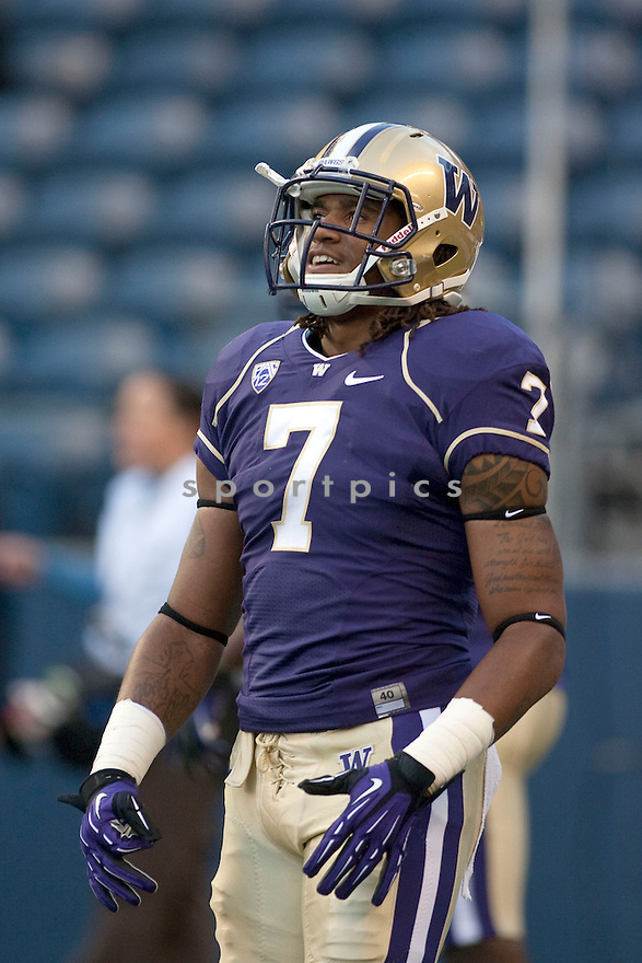 Washington Huskies Shaq Thompson (7) in action during a game against the San Diego State Aztecs on September 1, 2012 at Qualcomm Stadium in Seattle, WA. Washington beat SDSU 21-12.