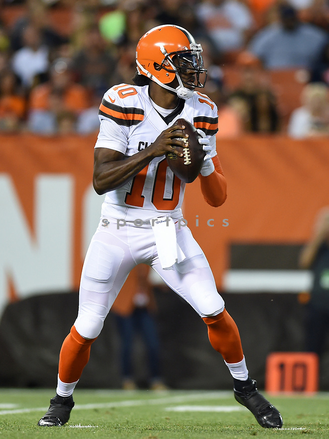CLEVELAND, OH - AUGUST 18, 2016: Quarterback Robert Griffin III #10 of the Cleveland Browns drops back to pass in the first quarter of a preseason game on August 18, 2016 against the Atlanta Falcons at FirstEnergy Stadium in Cleveland, Ohio. Atlanta won 24-13. (Photo by: 2016 Nick Cammett/Diamond Images) *** Local Caption *** Robert Griffin III