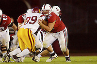 Dustin Stimson during Stanford's 49-17 loss to USC on November 9, 2002 at Stanford Stadium.<br />