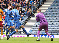 Darren Randolph gathers before the onrushing Murray Davidson