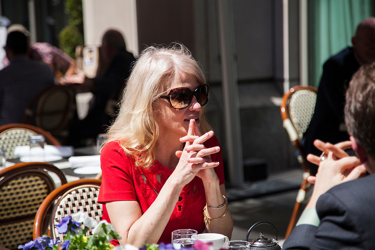 UNITED STATES - APRIL 10: Kellyanne Conway, aide to President Donald Trump, sits at the outdoor patio at BLT Steak restaurant in Washington, D.C. April 10, 2017. (Photo by Thomas McKinless/CQ Roll Call).