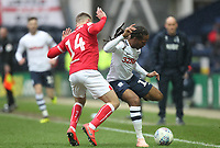 Preston North End's Daniel Johnson holds off Bristol City's Andreas Weimann<br /> <br /> Photographer Mick Walker/CameraSport<br /> <br /> The EFL Sky Bet Championship - Preston North End v Bristol City - Saturday 2nd March 2019 - Deepdale Stadium - Preston<br /> <br /> World Copyright © 2019 CameraSport. All rights reserved. 43 Linden Ave. Countesthorpe. Leicester. England. LE8 5PG - Tel: +44 (0) 116 277 4147 - admin@camerasport.com - www.camerasport.com
