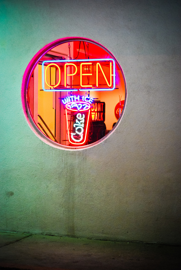 Glowing neon sign at the 66 Diner, Albuquerque, New Mexico, USA.
