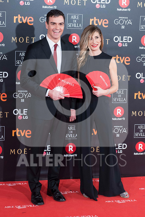 Pedro Sanchez and Begona Gomez attends red carpet of Goya Cinema Awards 2018 at Madrid Marriott Auditorium in Madrid , Spain. February 03, 2018. (ALTERPHOTOS/Borja B.Hojas)