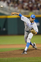 UCLA pitcher James Kaprielian (11) delivers a pitch to the plate during Game 1 of the 2013 Men's College World Series Finals against the Mississippi State Bulldogs on June 24, 2013 at TD Ameritrade Park in Omaha, Nebraska. The Bruins defeated the Bulldogs 3-1, taking a 1-0 lead in the best of 3 series. (Andrew Woolley/Four Seam Images)