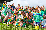 Captain Clodagh Quinlan is squashed by her Southern Gaels team mates as they celebrate winning the Randles Brothers Nissan SC final in Killarney on Sunday