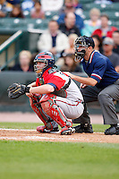 June 3, 2009:  Catcher Clint Sammons of the Gwinnett Braves in the field ahead of home plate umpire Brian Reilly during a game at Frontier Field in Rochester, NY.  The Gwinnett Braves are the International League Triple-A affiliate of the Atlanta Braves.  Photo by:  Mike Janes/Four Seam Images