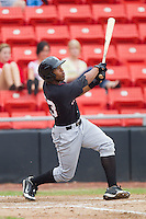 Kyle Colligan #23 of the Kannapolis Intimidators follows through on his swing against the Hickory Crawdads at  L.P. Frans Stadium August 1, 2010, in Hickory, North Carolina.  Photo by Brian Westerholt / Four Seam Images
