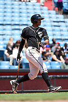 Omaha Storm Chasers second baseman Jimmy Paredes (17) at bat during a game against the Nashville Sounds on May 20, 2014 at Herschel Greer Stadium in Nashville, Tennessee.  Omaha defeated Nashville 4-1.  (Mike Janes/Four Seam Images)