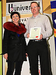 Mona Daly, with The Drogheda Leader's very own Ian Watters, who accepted his runner-up certificate for Adult Short Stories on the night.Picture: Shane Maguire / www.newsfile.ie.