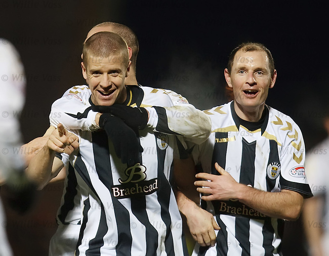 Chris Innes is mobbed by St Mirren team mates after scoring the only goal of the match