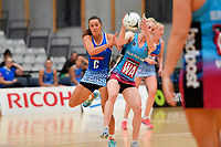 Mystics&rsquo; Emma Iversen and Steel Shannon Saunders in action during the Netball Pre Season Tournament - Mystics v Steel at Ngā Purapura, Otaki, New Zealand on Saturday 9 February  2019. <br /> Photo by Masanori Udagawa. <br /> www.photowellington.photoshelter.com