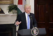 United States President Donald J. Trump speaks during a joint statement with President Mahmoud Abbas of the Palestinian Authority in the Roosevelt Room  of the White House in Washington, DC, on May 3, 2017. <br /> Credit: Olivier Douliery / Pool via CNP
