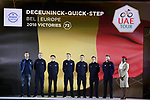 Deceuninck-Quick Step team on stage at the inaugural UAE Tour 2019 opening ceremony and team presentation held in the Louvre Abu Dhabi, United Arab Emirates. 23rd February 2019.<br /> Picture: LaPresse/Fabio Ferrari | Cyclefile<br /> <br /> <br /> All photos usage must carry mandatory copyright credit (© Cyclefile | LaPresse/Fabio Ferrari)