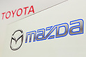 Logos of Toyota Motor Corporation and Mazda Motor Corporation on display during a news conference at the Royal Park Hotel Tokyo on August 4, 2017, Tokyo, Japan. Toyota Motor Corporation President Akio Toyoda and Mazda Motor Corporation President and CEO Masamichi Kogai, announced an alliance between the car makers; whereby they will invest in each other and plan to build a joint auto factory in the U.S. and cooperate in new technologies for electric vehicles. (Photo by Rodrigo Reyes Marin/AFLO)