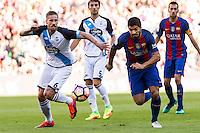Raul Albentosa and FC Barcelona's Luis Suarez during the La Liga match between Futbol Club Barcelona and Deportivo de la Coruna at Camp Nou Stadium Spain. October 15, 2016. (ALTERPHOTOS/Rodrigo Jimenez) NORTEPHOTO.COM