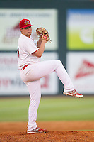 Johnson City Cardinals relief pitcher Jordan DeLorenzo (28) in action against the Elizabethton Twins at Cardinal Park on July 27, 2014 in Johnson City, Tennessee.  The game was suspended in the top of the 5th inning with the Twins leading the Cardinals 7-6.  (Brian Westerholt/Four Seam Images)