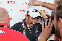 Gregory Bourdy (FRA) gets dosed in champagne and cold water and is the winner of the 2013 ISPS Handa Wales Open from the Celtic Manor Resort, Newport, Wales. Picture:  David Lloyd / www.golffile.ie