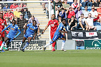 Kwame Poku scores Col U first goal past O's keeper DEan BRill and celebrates during Colchester United vs Leyton Orient, Sky Bet EFL League 2 Football at the JobServe Community Stadium on 21st September 2019