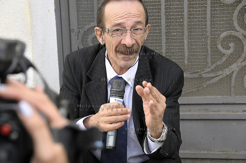 Partinico: the anti-mafia journalist Pino Maniaci, who runs the tv station in Sicily TeleJato. <br /> Partinico: il giornalista antimafia Pino Maniaci, direttore della emittente televisiva Telejato.