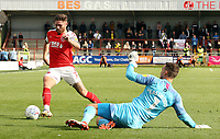 Fleetwood Town's Wes Burns looks to round Oxford United's Simon Eastwood<br /> <br /> Photographer Rich Linley/CameraSport<br /> <br /> The EFL Sky Bet League One - Fleetwood Town v Oxford United - Saturday 7th September 2019 - Highbury Stadium - Fleetwood<br /> <br /> World Copyright © 2019 CameraSport. All rights reserved. 43 Linden Ave. Countesthorpe. Leicester. England. LE8 5PG - Tel: +44 (0) 116 277 4147 - admin@camerasport.com - www.camerasport.com