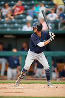 Mobile BayBears Bo Way (3) at bat during a Southern League game against the Jacksonville Jumbo Shrimp on May 28, 2019 at Baseball Grounds of Jacksonville in Jacksonville, Florida.  Mobile defeated Jacksonville 2-1.  (Mike Janes/Four Seam Images)