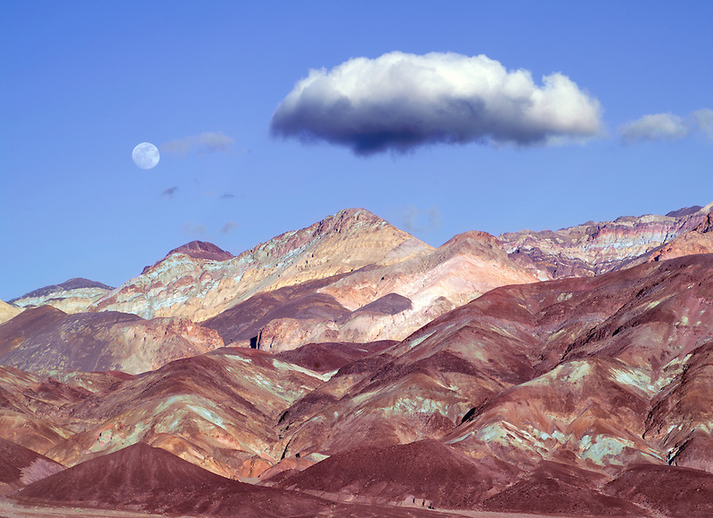 Colorful hills and moon. Death Valley National Park, California