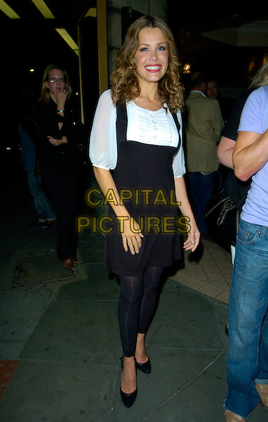 "MELINDA MESSENGER .The ""Fame The Musical"" press night, Shaftesbury Theatre, London, England.May 8th, 2007.full length black dress white blouse leggings .CAP/CAN.©Can Nguyen/Capital Pictures"