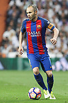 Andres Iniesta of FC Barcelona during the match of La Liga between Real Madrid and Futbol Club Barcelona at Santiago Bernabeu Stadium  in Madrid, Spain. April 23, 2017. (ALTERPHOTOS)
