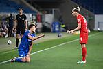 Dennis Geiger (Hoffenheim, l.) diskutiert mit Kevin Kampl (Leipzig, r.).<br /> <br /> Sport: Fussball: 1. Bundesliga: Saison 19/20: 31. Spieltag: TSG 1899 Hoffenheim - RB Leipzig, 12.06.2020<br /> <br /> Foto: Markus Gilliar/GES/POOL/PIX-Sportfotos