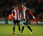 Scorers George Baldock of Sheffield Utd and Richard Stearman of Sheffield Utd during the Championship match at Bramall Lane Stadium, Sheffield. Picture date 26th December 2017. Picture credit should read: Simon Bellis/Sportimage