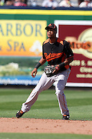Baltimore Orioles Pedro Florimon Jr #69 during a spring training game vs. the Philadelphia Phillies at Bright House Field in Clearwater, Florida;  March 8, 2011.  Philadelphia defeated Baltimore 4-3.  Photo By Mike Janes/Four Seam Images