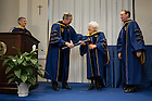 Jan. 27, 2014; University of Notre Dame President Rev. John Jenkins, C.S.C. and Board of Trustees Chairman Richard Notebaert confer an honorary Doctor of Laws degree on Maria Voce at the Notre Dame Rome Centre.<br />