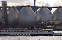Industrial scene on the River Elbe, Hamburg Germany.