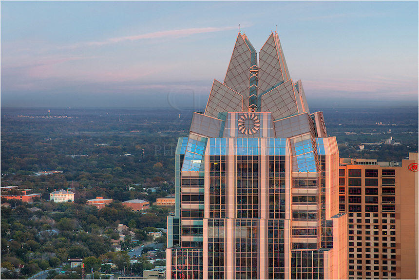 Taken from the roof of the 360 Condos in Austin, Texas, this image of the Frost Tower looks east as the sun sets behind me, giving a nice orange glow to the iconic building.
