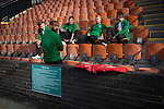 Hibernian players relaxing in the grandstand at Meadowbank Stadium before the Scottish Cup winners took on hosts Edinburgh City in a pre-season friendly. The match was City's first at the Commonwealth Stadium since they gained promotion from the Lowland League to the Scottish League in May 2016. A record crowd for a City match of 2500 spectators saw the visitors run out 6-1 winners.