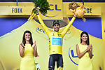 Race leader Fabio Aru (ITA) Astana retains the Yellow Jersey at the end of Stage 13 of the 104th edition of the Tour de France 2017, running 101km from Saint-Girons to Foix, France. 14th July 2017.<br /> Picture: ASO/Pauline Ballet | Cyclefile<br /> <br /> <br /> All photos usage must carry mandatory copyright credit (&copy; Cyclefile | ASO/Pauline Ballet)