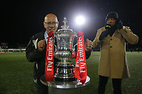 Haringey Chairman Aki Achillea is seen by the FA cup but is not allowed to touch during Haringey Borough vs AFC Wimbledon, Emirates FA Cup Football at Coles Park Stadium on 9th November 2018