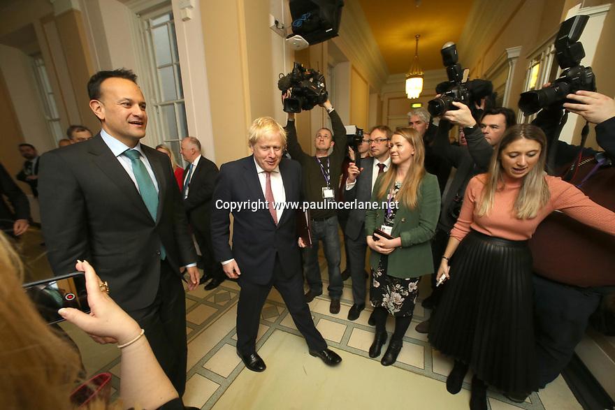 BELFAST, Jan. 13, 2020  British Prime Minister Boris Johnson and Taoiseach (Irish prime minister) Leo Varadkar meet at Parliament Buildings at Stormont, Belfast, Northern Ireland on Jan 13, 2020. (IRISH GOV POOL Photo by Paul McErlane)