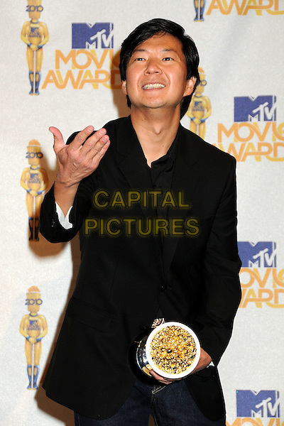 KEN JEONG.MTV Movie Awards 2010 - Press Room held at the Gibson Amphitheatre, Universal City, California, USA..June 6th, 2010.half length black top award trophy hand .CAP/ADM/BP.©Byron Purvis/AdMedia/Capital Pictures.