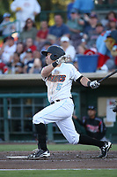 Zach Gibbons (5) of the Inland Empire 66ers bats against the Lake Elsinore Storm at San Manuel Stadium on April 29, 2017 in San Bernardino, California. Inland Empire defeated Lake Elsinore, 3-1. (Larry Goren/Four Seam Images)