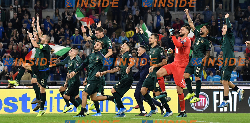 Italian players celebrate the victory and the qualification to Euro2020 <br /> Roma 12-10-2019 Stadio Olimpico <br /> European Qualifiers Qualifying round Group J <br /> Italy - Greece <br /> Photo Andrea Staccioli/Insidefoto