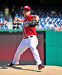 25 September 2010: Washington Nationals pitcher Yunesky Maya on the mound against the Atlanta Braves at Nationals Park in Washington, DC. The Braves shut out the Nationals 5-0 to even their 3-game series at one win apiece. The Braves' victory was the 2500th career win for skipper Bobby Cox. Cox will retire at the end of the 2010 season, crowning a 29-year managerial career. Mandatory Credit: Ed Wolfstein Photo