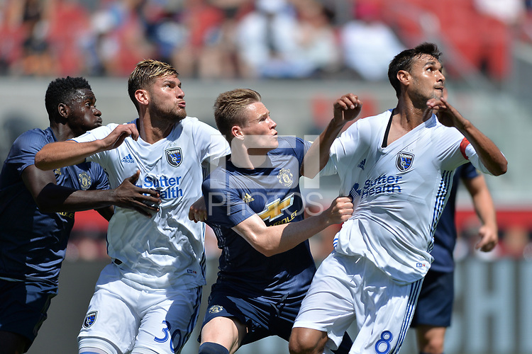 Santa Clara, CA - Sunday July 22, 2018: Yeferson Quintana, Chris Wondolowski during a friendly match between the San Jose Earthquakes and Manchester United FC at Levi's Stadium.